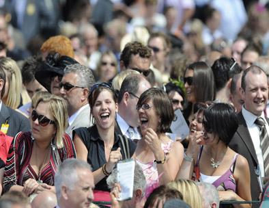 Race-goers enjoying a day out during a meeting at York